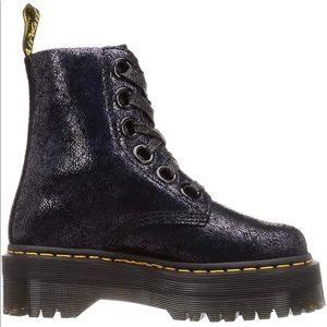 Dr. Martens Molly Crackled Suede Platform Boots
